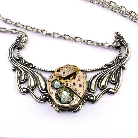 Steampunk Necklace - Gorgeous Vintage Watch Movement Accented & Black Diamond Swarovski Crystals  - PROMPTLY SHIPPED Steampunk Jewelry