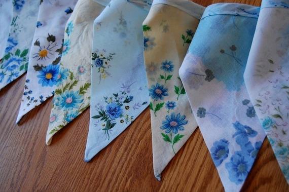 Vintage Blue Floral Heirloom Handkerchief Banner