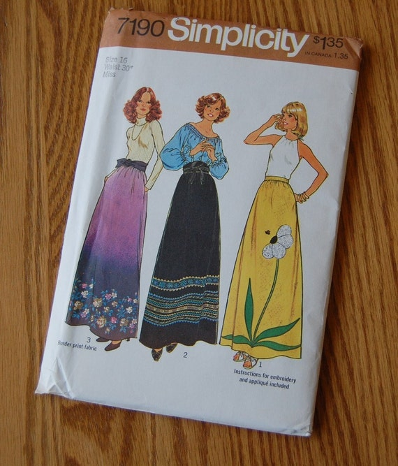 maxi skirt with pockets pattern 1975