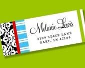 tReNdY PERSONALIZED Address Labels Adhesive Sticker Sheet - Damask Mix