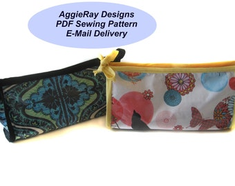 INSTANT DOWNLOAD PDF Sewing Pattern Cosmetic Bag -- Two Patterns Laminated or Quilted Bag