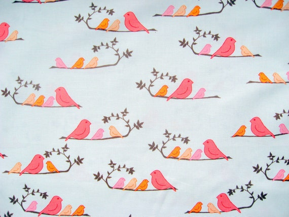 LAST ONE Wren Mammabirds Mandarin Cotton Quilt Fabric by Valori Wells 1/2 Yard