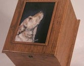 Pet urn memorial box (large, solid cherry) large pet urn custom portrait of pet on memorial box oversized urn to hold pet leash pet toy