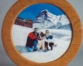 Hand turned painted oak plate custom portrait on hand-turned hardwood plate