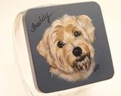 Norfolk Terrier Pet Treat Jar,handpainted pet treat jar, custom airtight lid for pet treat jar, glass jar, petportrait on pet treat jar