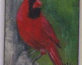 Cardinal.....Red and Green ACEO II 2 x 3 small portrait of pet  aceo magnet  aceo on easel