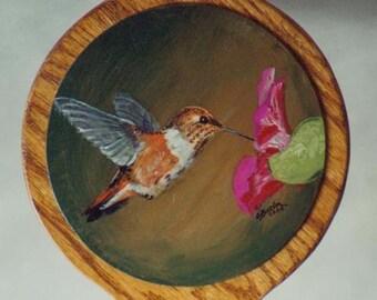 Oak hand mirror,hand made mirror,hardwood mirror, custom painted mirror,hummingbird painting,bridesmaid gift,gift for her,