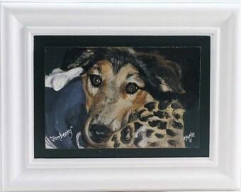 Pet portrait on raised wood panel,acrylic on wood,handmade hardwood frame, head portrait
