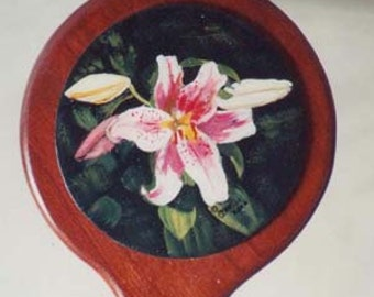 Cherry hand mirror, 6-in dia x 12 in.  acrylic painting on hand mirror, hand made mirror