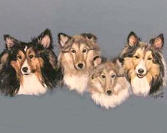Pet portrait, Shelties Portrait, multiple pet portrait,head portrait,acrylic on wood, handmade frame,