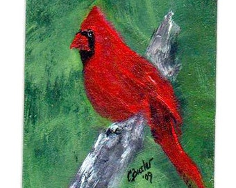 Red and Green ACEO, cardinal, 2 x 3 portrait, aceo magnet,art trading card,collectible art,small art,red bird, acrylic