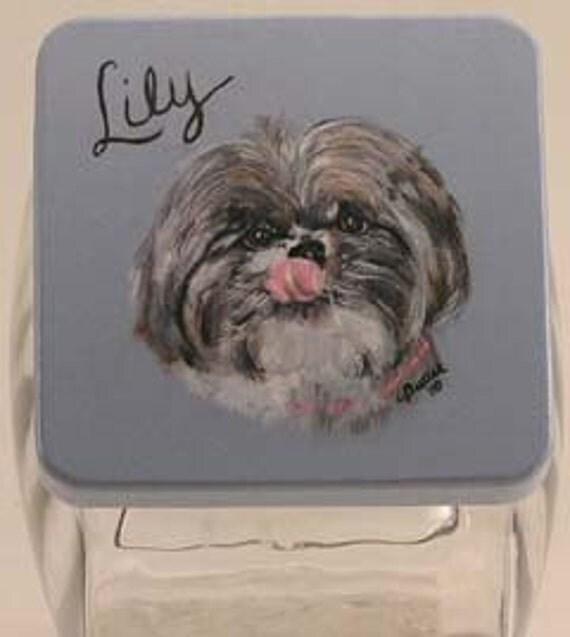 Custom Shih Tzu Pet Treat Jar, handpainted pet treat jar, custom airtight lid for pet treat jar, glass jar, pet portrait on pet treat jar