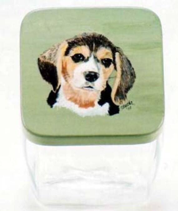 Beagle Pet Treat Jar, handpainted pet treat jar, custom pet treat jar, glass jar, portrait of pet on  treat jar, beagle puppy