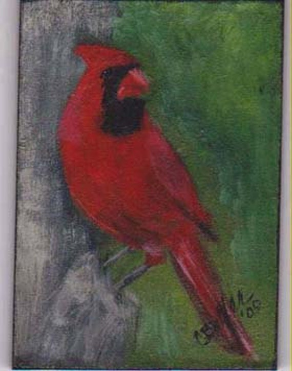Cardinal,Red and Green, 2 x 3 small portrait of pet,  aceo magnet , aceo on easel,art trading card,collectible art,small art,