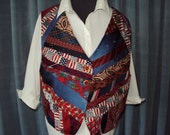 Vest crafted from men's silk ties red white and Blue  back blue denim, fourth of July Memorial day