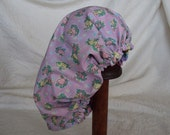 Scrub Cap for Easter--Add a little bit Easter fun for your patients    Bunnys and chicks on lavender reverses to rainbow with eggs
