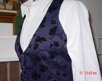 Victorian vest  Christmas pagents vest  Black velvet Flowers on Navy Background
