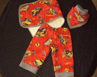 Boys Construction Zone Set three piece set pants bib burp pad diaper cover OOAK  pantaloons knickers new born