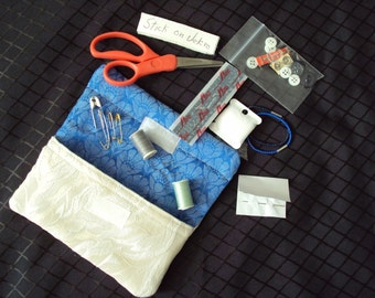Hand SEWING KIT--Mending caddie-stocking stuffer graduate new bride  mom all  you need for mending--stash your extra buttons
