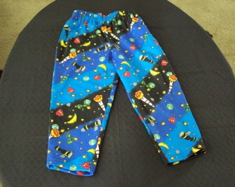 Space Pants with pockets Tropical vacation wear  OOAK Knit lounge  or sleep  pants for children