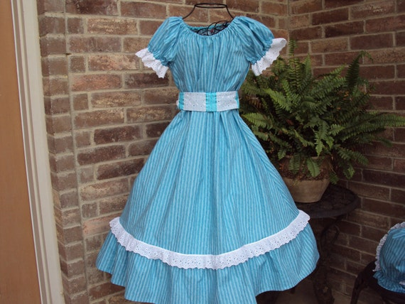 Prairie Party Dress-- Southern Belle--OOAK--tourquoise and aqua stripe with bonnet and sash--girls size 5