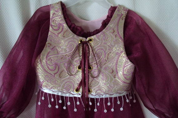 Ruby Renaissance Costume with gold paisley vest--comes with two headpieces--size child small