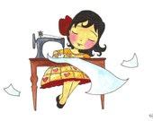 Christa (magic sewing machine) - Print - SALE