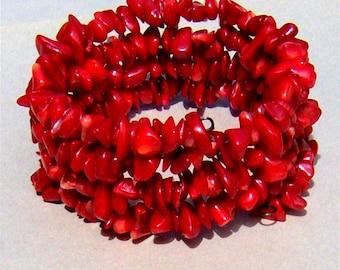 Red Coral Chips Spiral Bracelet