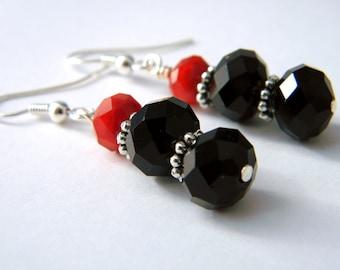Midnight Red Beaded Earrings Dangle Earrings