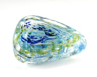 Free-Form Paperweight - Hand Blown Glass - Blue, Green - Free Shipping