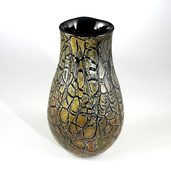Crackle Glass Vase - Hand Blown - One of a kind