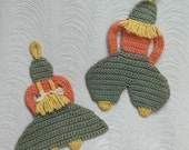 Dutch Boy & Girl Thick Crochet Cotton Potholders...Trivets...1930s, 1940s...Charming Pair...Nice Colors