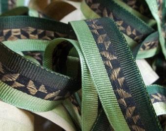 SALE...Silk Grosgrain Ribbon w Woven Gold Boullion, Art Deco 20s on Roll, 7 yds...Made in FRANCE...Great for Millinery