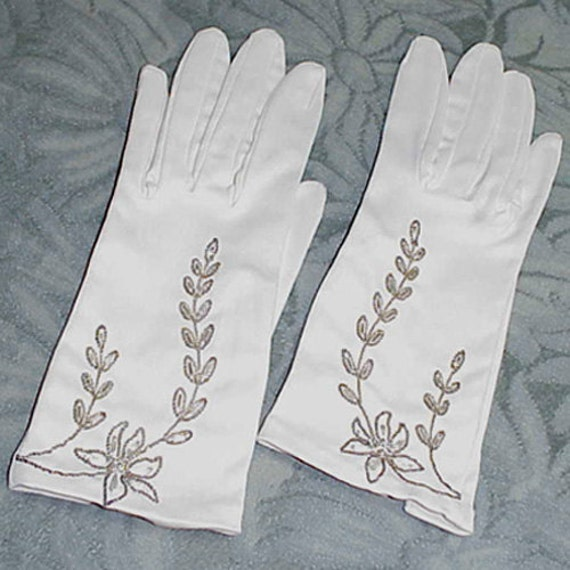 Mid-Century 50s White Satin Stretch Gloves with Boullion Embroidery, Bugle Beads West Germany sz M