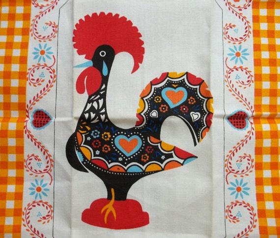 Kitchen Folk Art: Folk Art ROOSTER Cotton Kitchen Towel.....Portugal.....Never