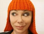 Winter warmth -  Orange Wig Hat Beanie in acrylic - Gift under 50