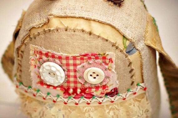 Vintage fabric  hand stitched softie nursery gift  - Harriett -