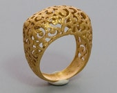 Golden Desert Lace Ring - Handmade 24k Yellow Gold Plated Jewelry