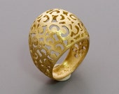 Golden Round Lace Ring - Handmade 14K Plated Filigree Jewelry