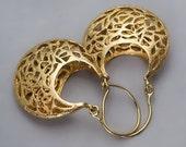 Filigree Earrings, Gold Earrings, Gold Lace Earrings, Bridal Earrings, Victorian Earrings, Mothers Day Gift, Unique Earrings, Gift For Mom