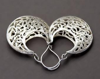 Silver Filigree Earrings, Silver Lace Earrings, Sterling Silver Earrings, Sterling Silver Earrings, Moroccan Earrings, Vintage Style Earring