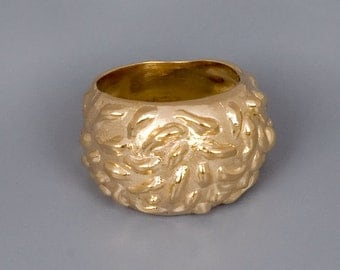 Large Gold Ring, Chunky Gold Ring, Boho Ring Gold, Statement Ring, Rocker Ring, Organic Ring, Unique Ring, Mens Ring, Womens Ring, Big Ring