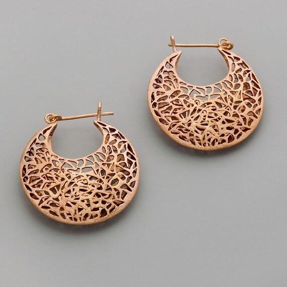 Large Boho Earrings, Rose Gold Earrings, Statement Hoop Earrings, Filigree Earrings, Chunky Earrings, Moroccan Earrings, Bohemian Earrings