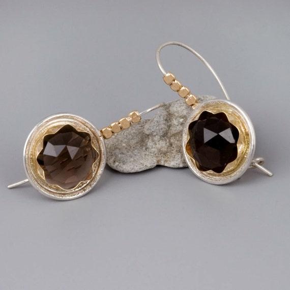 smoky topaz earrings handmade sterling silver by toolisjewelry