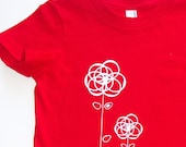 Bright Ring Flower Friends on Red Tee