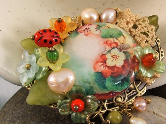 Floral Brooch,  Tea Party Jewelry, Tea in Grandma's Garden