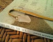 Beach Book Mark - Sea Glass Bookmark in Gold