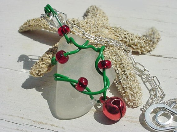 Beach christmas tree sea glass pendant