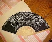 Lovely Vintage Paper Wood Oriental Fan