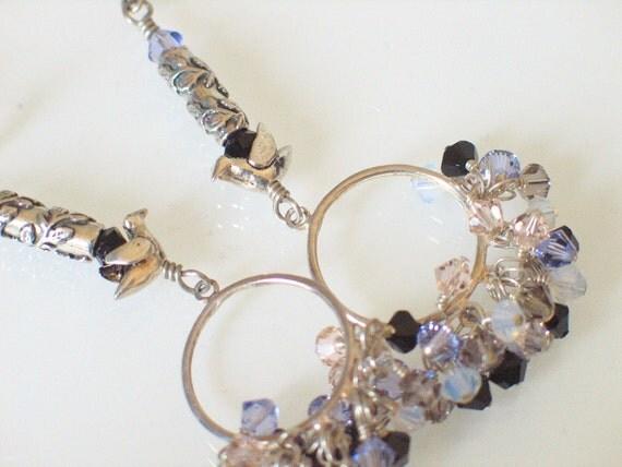 Bird Earrings - Fall Fashion - Pastels - Sterling Hoops - Swarovski Crystal Elements - Bird Charms